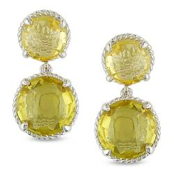 Miadora Sterling Silver Citrine Dangle Earrings