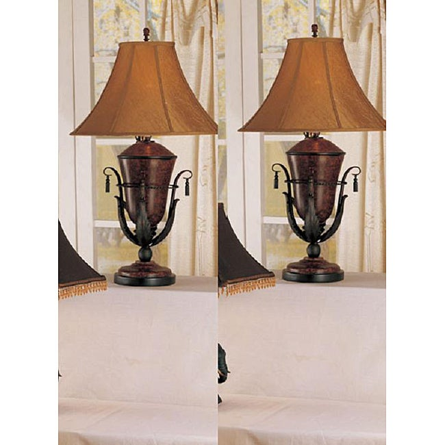 London 35-inch Rust Table Lamps (Set of 2)