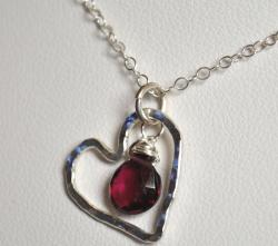 AEB Design Fine Silver Large Free-floating Heart Garnet Necklace