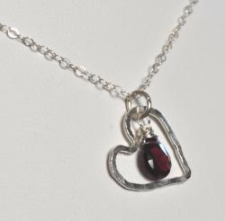 AEB Design Fine Silver Large Free-floating Heart Garnet Necklace