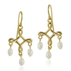 Glitzy Rocks 18k Gold over Sterling Silver Freshwater Pearl Chandelier Earrings