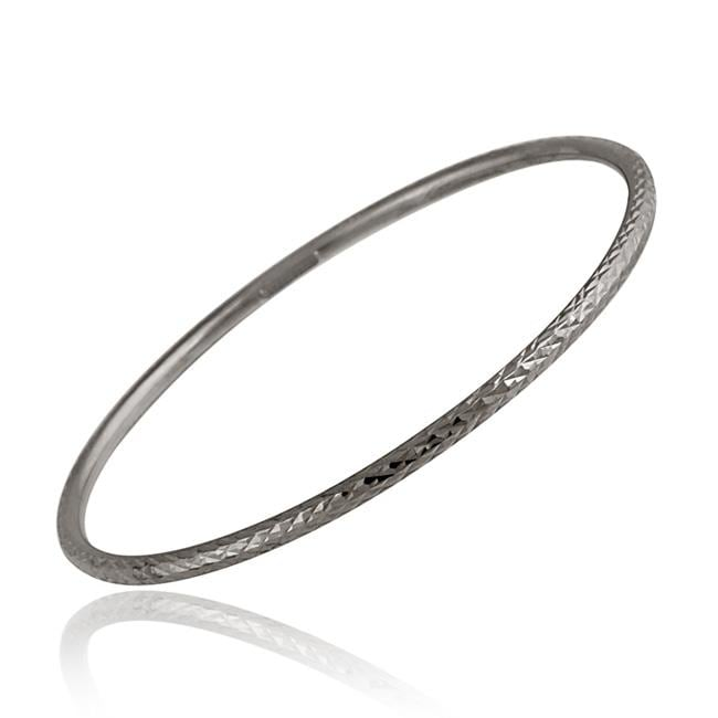 Mondevio Black Rhodium over Sterling Silver Diamond-cut Bangle Bracelet at Sears.com
