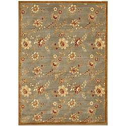 Handcrafted Florance Blue Wool Rug (5'3 x 7'6)