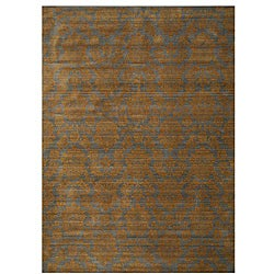 Himalaya Blue/ Brown Floral Wool Rug (5'3 x 7'6)