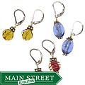 Misha Curtis Sterling Silver Art Glass Earring Trio Set
