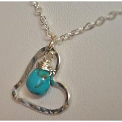 AEB Design Fine Silver Turquoise Large Free-floating Heart Necklace