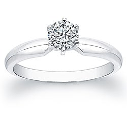 14k White Gold 1/2ct TDW Certified Diamond Solitaire Engagement Ring (F-G, SI1-SI2)