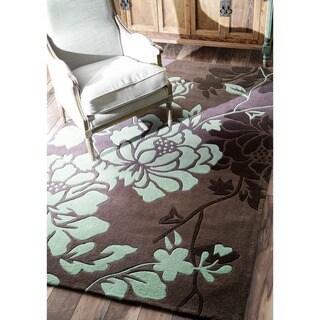 nuLOOM Handmade Pino Yarrow Brown/ BlueFloral Rug (3'6 x 5'6)