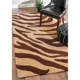 nuLOOM Handmade Modern Zebra Brown/ Beige Wool Rug (4' x 6')