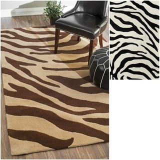 nuLOOM Handmade Modern Zebra Wool Rug (5' x 8')