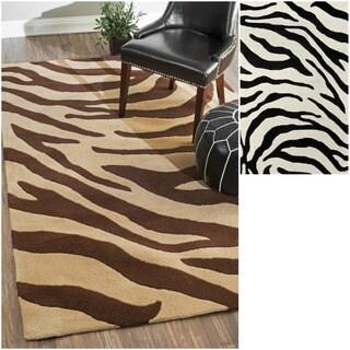 nuLOOM Handmade Modern Zebra Wool Rug (7'6 x 9'6)