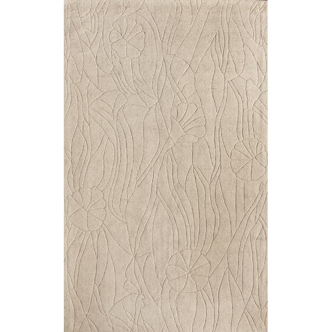 nuLOOM Handmade Neutrals and Textures Ivory Wool Rug (5' x 8')