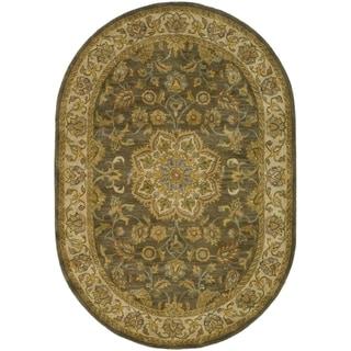 Handmade Heritage Taupe/ Ivory Wool Rug (7'6 x 9'6 Oval)