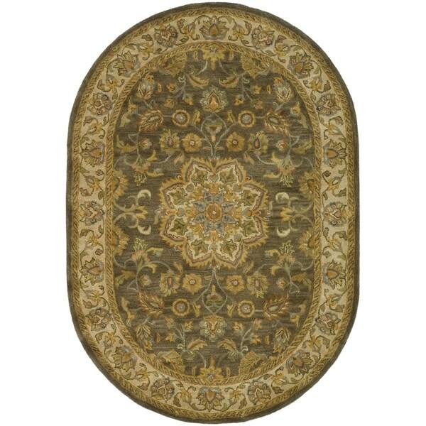 Safavieh Handmade Heritage Taupe/ Ivory Wool Rug (7'6 x 9'6 Oval)
