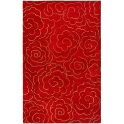 Handmade Soho Roses Red New Zealand Wool Rug (7'6 x 9'6)