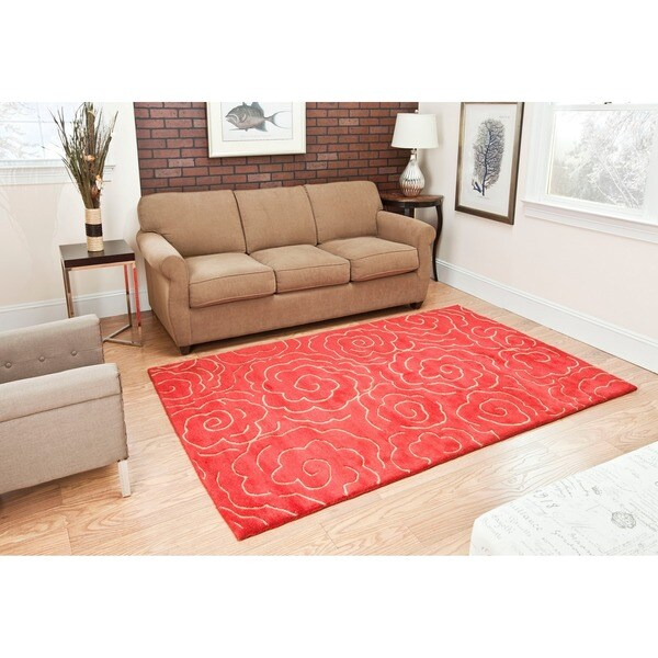Safavieh Handmade Soho Roses Red New Zealand Wool Rug (7'6 x 9'6)