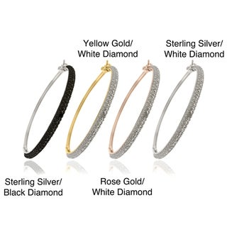 Finesque Sterling Silver Diamond Accent Bangle Bracelet