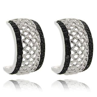 Finesque Sterling Silver Black Diamond Accent Half Hoop Earrings