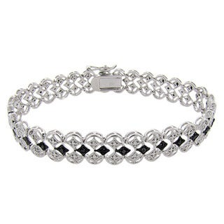 Finesque Sterling Silver 1/10ct TDW Black and White Diamond Filigree Bracelet (I-J, I2-I3)