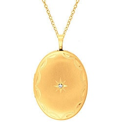 Sterling Silver and 14k Gold Diamond Accent Oval Necklace (H-I, I1-I2)