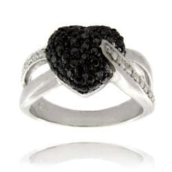 Finesque Sterling Silver Black Diamond Accent Heart Ring