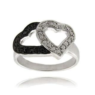 Finesque Sterling Silver Black Diamond Accent Double Heart Ring