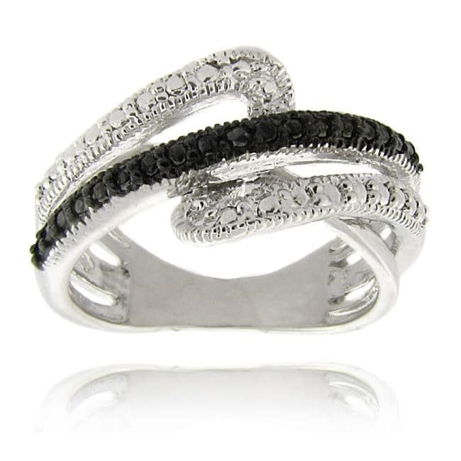 Finesque Sterling Silver Black Diamond Accent Swirl Ring