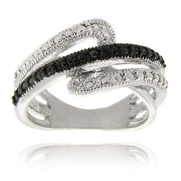 Finesque Sterling Silver Black Diamond Accent Swirl Ring