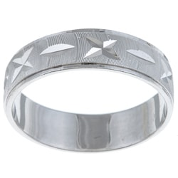 Sterling Essentials Highly Polished Rhodium Plated Silver Unisex Ring