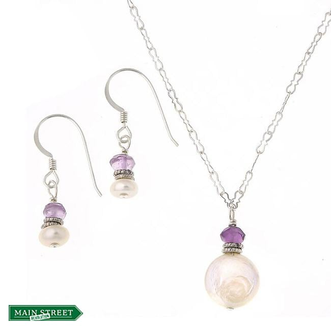 Misha Curtis Silver White Coin Pearl/ Amethyst Jewelry Set (2-1
