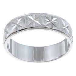 Sterling Essentials Diamond-cut Rhodium Plated Silver Unisex Ring