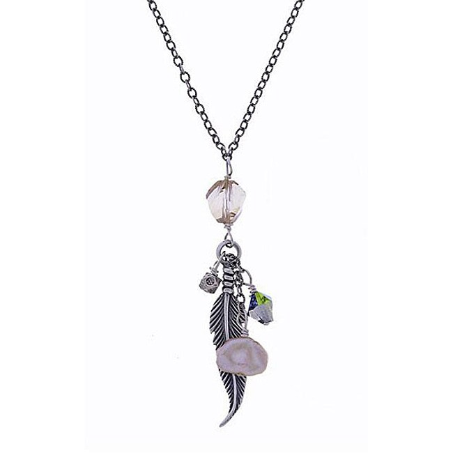 Misha Curtis Silver Keishi Pearl and Crystal Charm Necklace (8