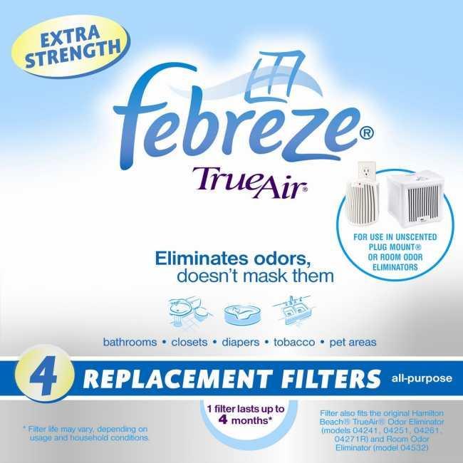 Hamilton Beach TrueAir Febreze Odor Eliminator Replacement Filters (Pack of 4)