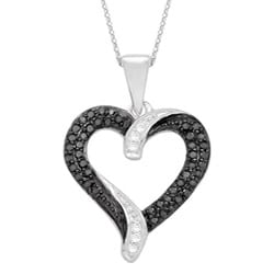 Sterling Silver 1/5ct TDW Black and White Diamond Heart Necklace (H-I, I3)