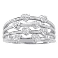 Sterling Silver 1/10ct TDW Diamond Heart Ring (H-I, I3)