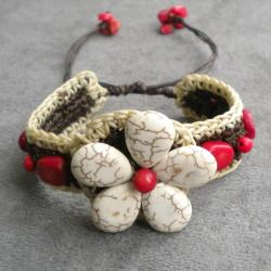 Handmade White Turquoise and Coral Flower Cuff Bracelet (Thailand)
