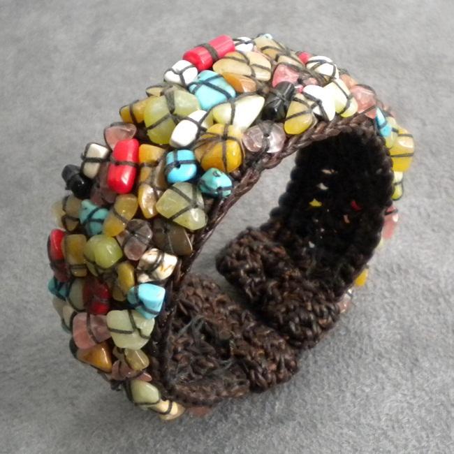 Cotton Rope Mosaic Gemstone Expandable Cuff/ Bracelet (Thailand)