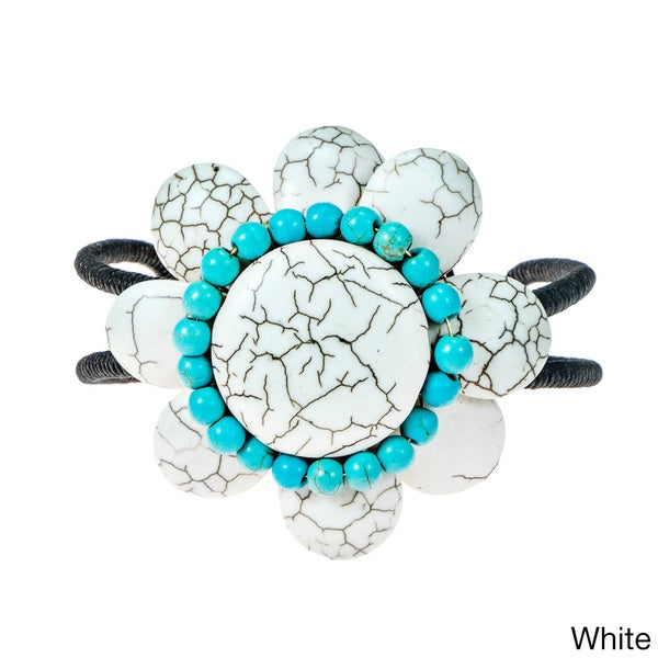 Cotton Rope White/ Blue/ Red Turquoise 8-petal Flower Cuff (Thailand)