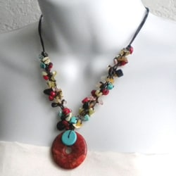Cotton Rope Darling Cluster Multi-gemstone Donut Necklace (Thailand)