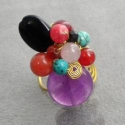 Brass Amethyst and Black Onyx Ring (Thailand)