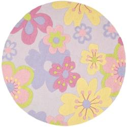 Safavieh Handmade Children's Daisies Violet N. Z. Wool Rug (6' Round)