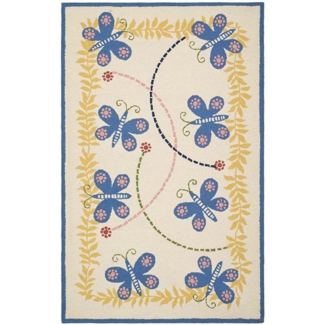 Safavieh Handmade Children's Butterflies Ivory N. Z. Wool Rug (8' x 10')