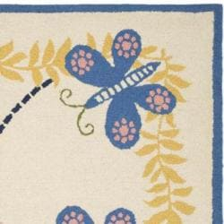 Handmade Children's Butterflies Ivory N. Z. Wool Rug (8' x 10')