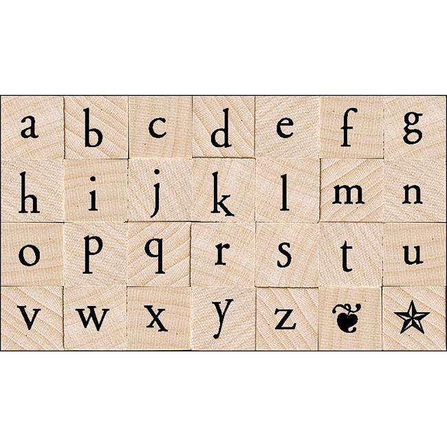 Hero Arts Printer's Type Lowercase Alphabet Wood Stamp Set