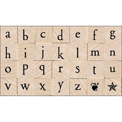 Hero Arts Printer's Type Lowercase Alphabet Wood Stamp Set