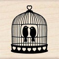 Inkadinkado Heart Bird Cage Wood Mounted Rubber Stamp