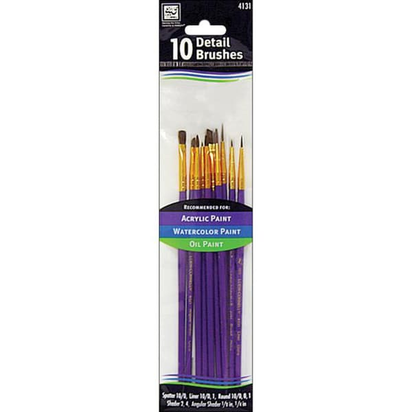 Brown Nylon Detail Brush Set in Assorted Shapes and Sizes (Pack of 10)