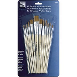 Brown Nylon Brush Set (Pack of 12)