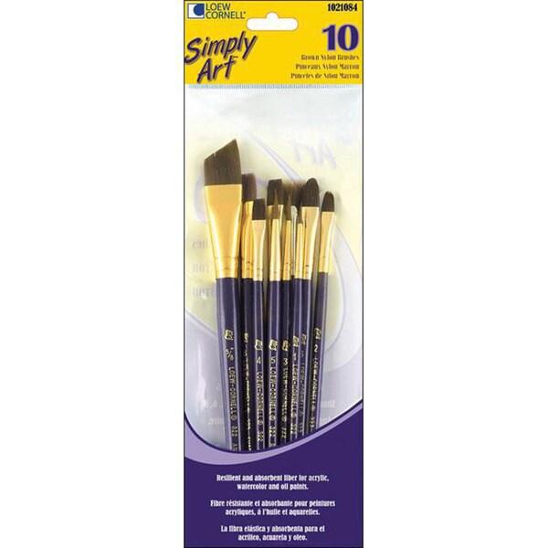 Loew-Cornell Simply Art Brown Nylon Brush Set (Pack of 10)