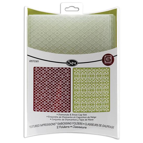 Sizzix Textured Impressions 'Diamonds and Snow Cap' Embossing Folders (Pack of 2)